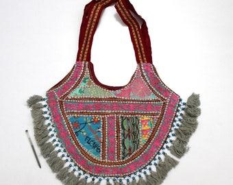 Handmade Ethnic Designer Tribal Banjara Patchwork Embroidered Hippy Fashionable Stylish Trendy Hippie Gypsy Boho Bohemian Shopper Bag F160