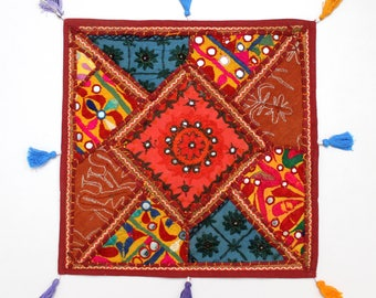 Handmade Hippie Gypsy Home Decor Ethnic Multi color Embroidered Hippy Patchwork Bohemian Pillow Shams Couch Cushion Cover Case G756