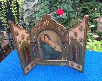 Antique Italian Florentine Triptych Madonna And Child Jesus