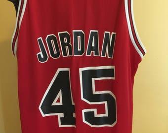 Vintage 1990s Michael Jordan Chicago Bulls Champion Jersey Sz 48 Mens XL made In USA