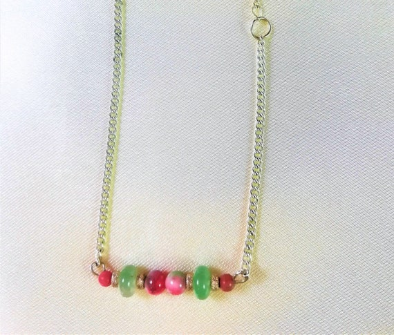 silver chain bracelet and precious stones : jade candy, rhodonite and aventurine