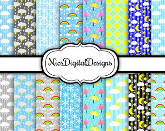 Buy 2 Get 1 Free-16 Digital Papers. Different kinds of  Weather (3D no 3) for Personal Use and Small Commercial Use Scrapbooking