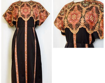 70s Brown and Orange Print Day Dress