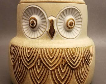 Vintage Retro Pottery Craft Owl Cookie Jar Canister 1970s Large Jar