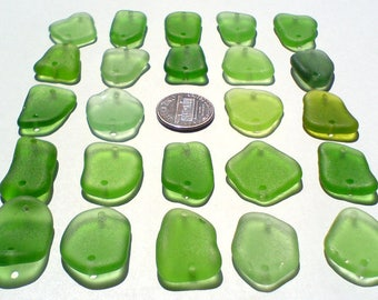 24 double drilled Genuine surf tumbled sea beach glass for jewelry 19-24 mm in length