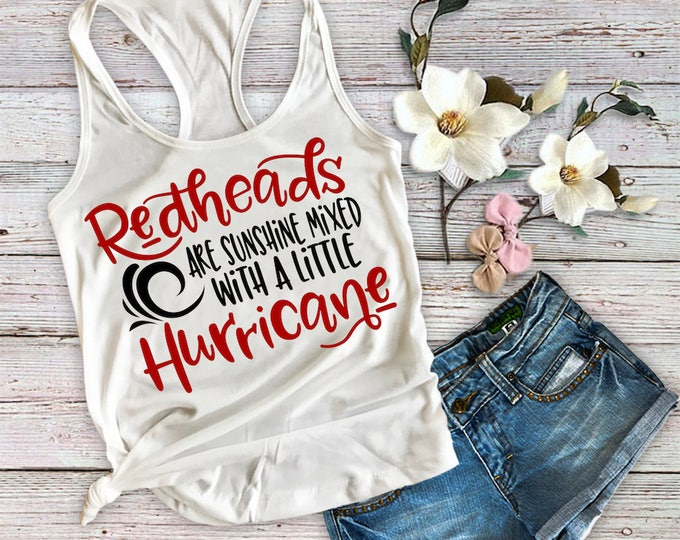 Redheads Are Sunshine And Hurricane Tank Top-Ginger Shirt-Redhead Top-Shirt-Bella Canvas Flowy Tank Top-Loose Fit