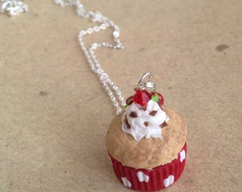 Muffin necklace, necklace with strawberry and cream red, miniature food