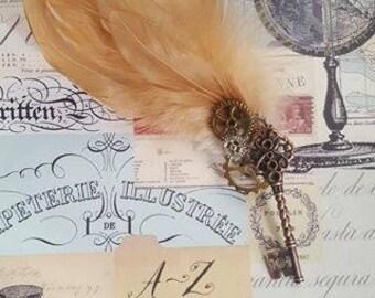steam punk/buttonholes/ cogs/key/ magnet/wedding/groom/ best man/feather