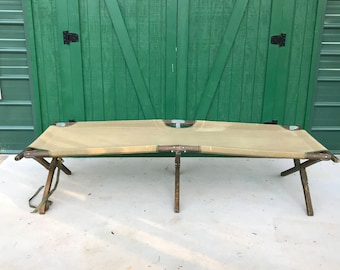 Antique Army, Military Cot, Folding Bed, Canvas Cot,Complete, Portable Bed