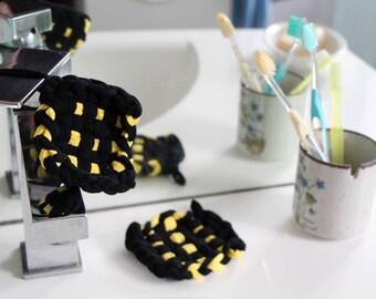 Two Tawashis 束子 (washable sponges) yellow and black