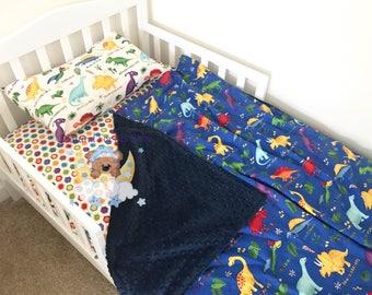 Dinosaur Toddler Boy Bedding Set Dinosaurs Toddler Bedding Set Blanket Dinosaur Fitted Sheet Pillow Case Animals Toddler Bedding