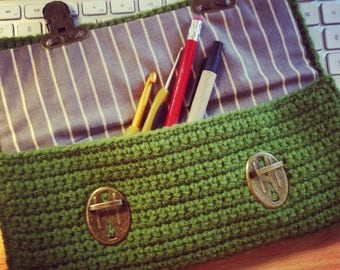Wool and cotton briefcase
