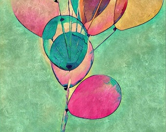 Balloons gouache Painting art print