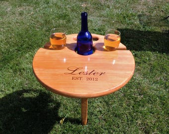 Wedding gift, gift for the couple, Anniversary gift, Engagement gift, Bridal shower, outdoor folding Wine Table, personalized gift for her
