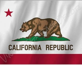 California Republic State Flag on a Metal Sign
