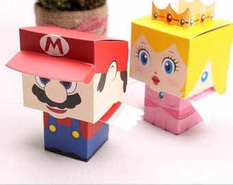 50pcs/lot cartoon Super Marie Bros princess Bride and Groom wedding favors Mario candy box wedding gifts