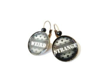 Weird Strange lever back earrings