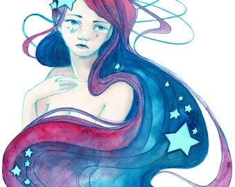 Art Print - Galaxy Hair - Woman with Stars in her Hair