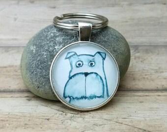 Schnauzer keychain, Schnauzer key ring, pocket pendant, dog illustration, dog accessory, gift for dog lover