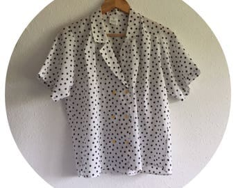 Vintage 80's White and Black patterned blouse Size 12