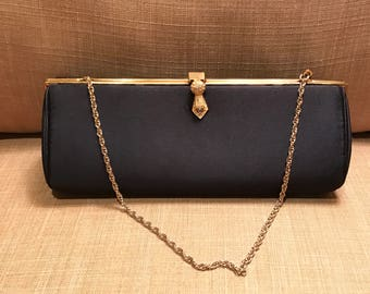 Vintage Navy Satin Clutch by MM, Morris Moskowitz, Navy Satin Evening Bag, Wedding Purse, Bridal Clutch