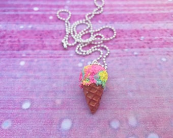 Ice cream cone necklace/ice cream necklace cotton candy necklace, food jewelry miniature fake food, ice cream jewelry cotton candy ice cream