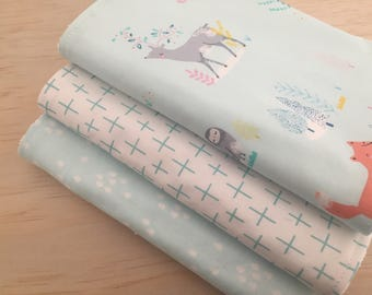 SALE! Baby burp cloths, set of 3, Baby blue woodland print, baby shower, baby gift