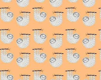 1/2 Yard Organic Cotton Jersey Knit, Ämne fabric ,Organic Knit Fabric,Orange Sloth Knit