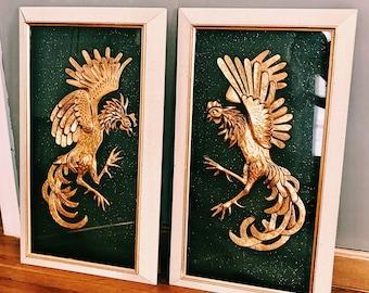 Vintage Framed Gold Fighting Birds / Large Framed Gold Birds on Black Background