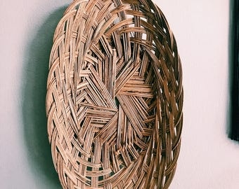 "Vintage 17"" Woven Rattan Basket / Oval Hanging Wall Basket / Long Boho Bread Basket / Made in Philippines"