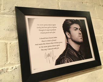 george michael framed poster with reproduction autograph in a choice of frame black or silver - Michael Frame
