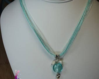 Turquoise organza necklace with turquoise Lampwork pendant bead and freshwater CO77