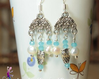 Vintage Silver earrings, freshwater pearls, glass beads and OWL