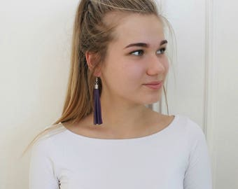 Purple leather tassel earrings, tassel with silver or gold color elements