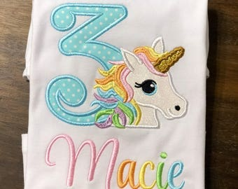 Unicorn Birthday Shirt // Pastel Rainbow Unicorn Birthday Shirt // Girl Birthday Shirt // Monogrammed Birthday Shirt // Unicorn 2nd 3rd 4th
