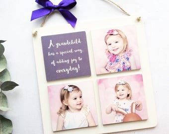 4 Tile Wooden Photo Plaque, Personalised photo gifts, Photos on wood