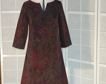 Trapeze dress in corduroy with 3/4 sleeves