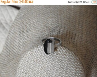 ON SALE stunning vintage hand made modernist sterling silver and black onyx ring size 8 1/2