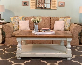Rustic Coffee Table With End Tables
