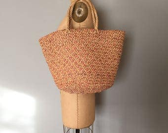 large woven straw matket bag || pastel woven tote || straw tote