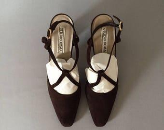 20% OFF SALE... 90s fudge suede high heels   strappy pumps   9.5