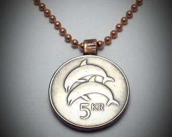 Iceland 5 Krónur Dolphin Coin Copper Pendant Necklace