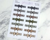Bow Headers - Neutral Glitter | 14 Bow Dividers, Bow Headers, Bow Planner Stickers (Q060)