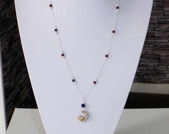 Necklace in Silver 925 and Garnet pendant in beech