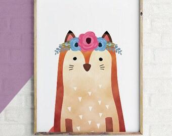 Girl Fox Nursery Art Print, Floral Fox Art Print Girl, Floral Fox Nursery, Woodland Girl Nursery Printable Art, Pink Floral,animals wall art