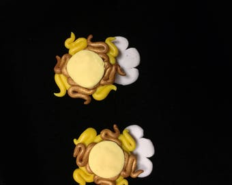 Sun and clouds stud earrings, handmade, one of a kind, polymer clay,