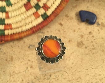 Vintage Jasper and Sterling Silver Ring Size 6.5