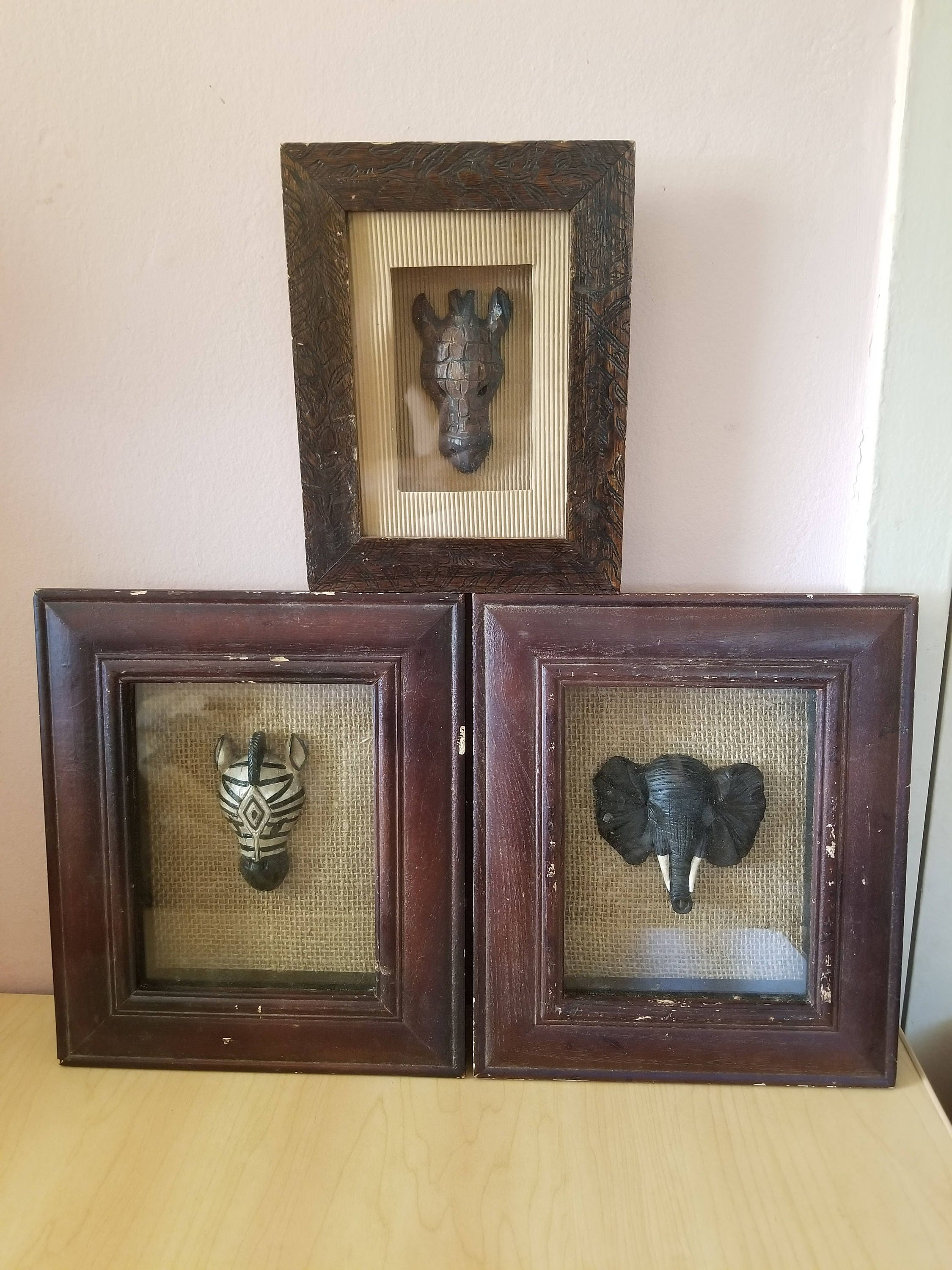 vintage wall frames. Set of 3 Vintage Wall Decoration African Animals Figure Canvas in wooden  frames
