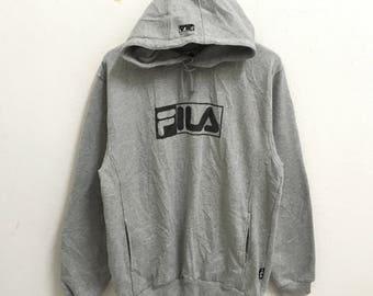 RARE!!! Vintage Fila Big Logo Grey Colour Hoodies Hip Hop Swag LL Fit M Size