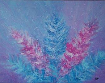 Pink Purple Blue Feather Art,Feather Artwork,Pastel Art,Textured Art,Abstract Art,Purple Blue Wall Art,18X24 Inches Canvas Art.